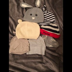 Set of infant beanie hats